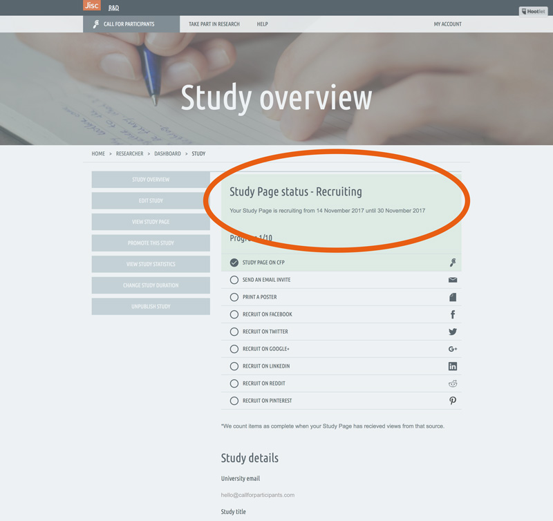 Study status highlight
