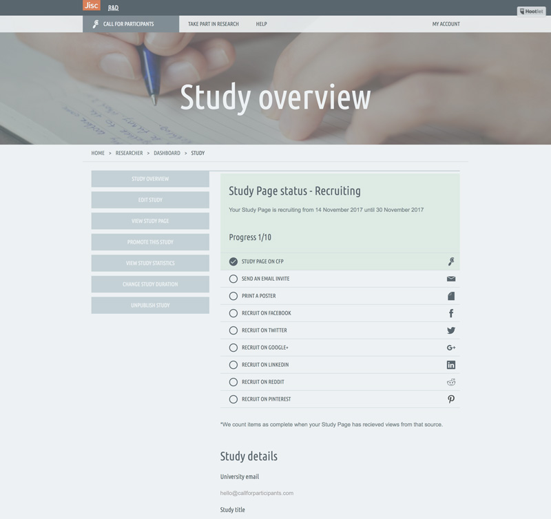 New Study Overview page